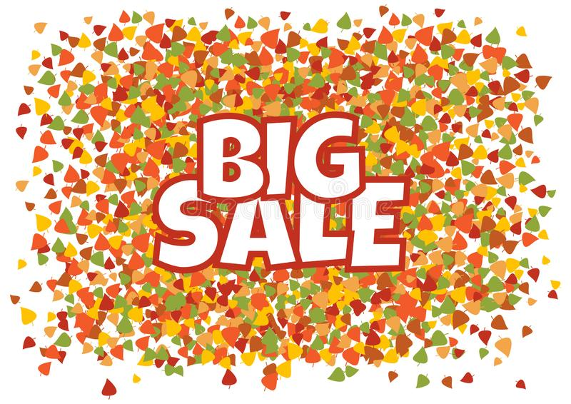 Big sale. White inscription on autumn banner with colorful different leaves. Vector. Illustration vector illustration