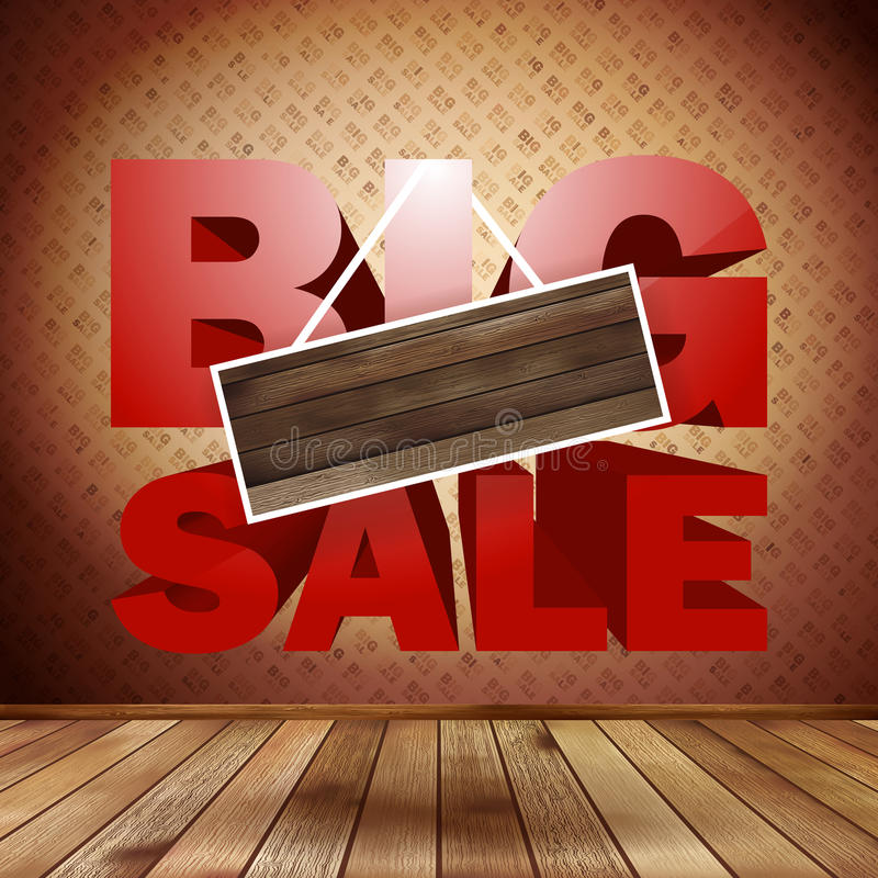 Big sale with wood background for copy space. EPS 10 vector illustration