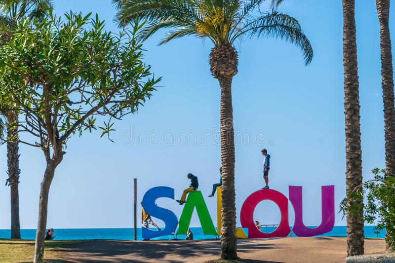 A big Salou sign at the beach royalty free stock image
