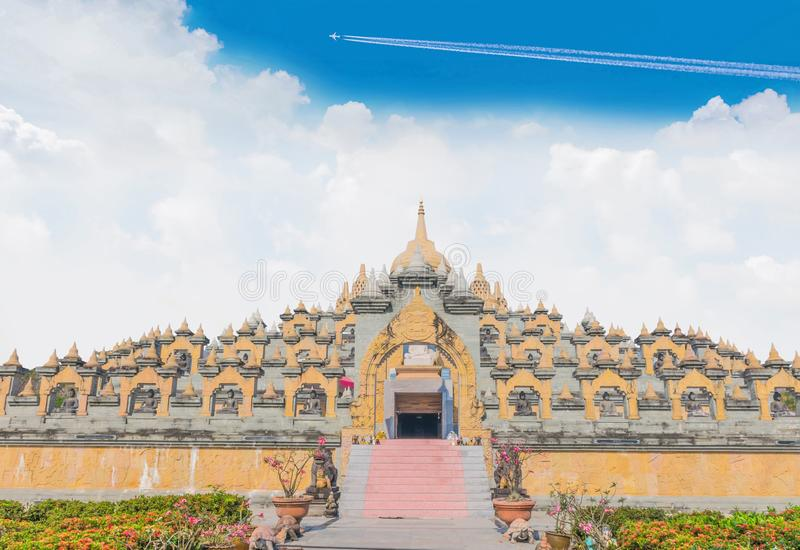 Sanctuary, temple, culture Borobudur in Roi-et province, Thailand.The public domain made from donation money from people. The big sanctuary, temple, culture stock photography