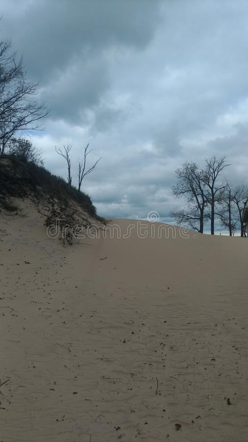 Big sand dune at Indiana dunes royalty free stock images