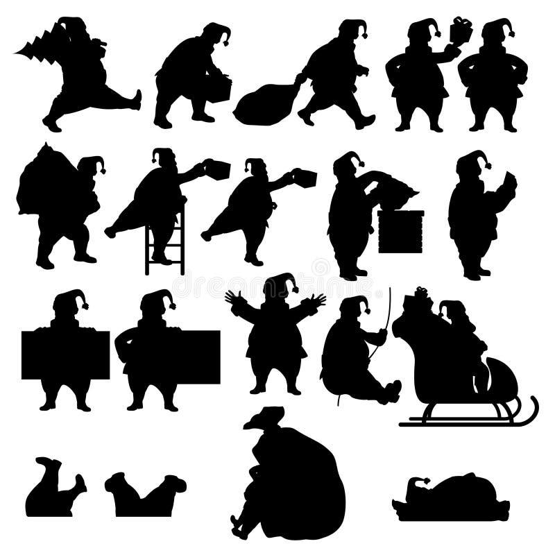 Big santa silhouette set. Illustratio nof big santa claus silhouette set isolated on white background stock illustration