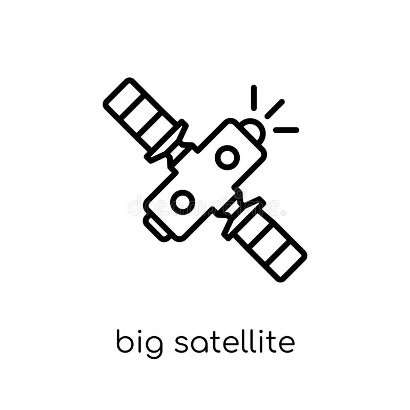 Big Satellite icon. Trendy modern flat linear vector Big Satellite icon on white background from thin line hardware collection vector illustration