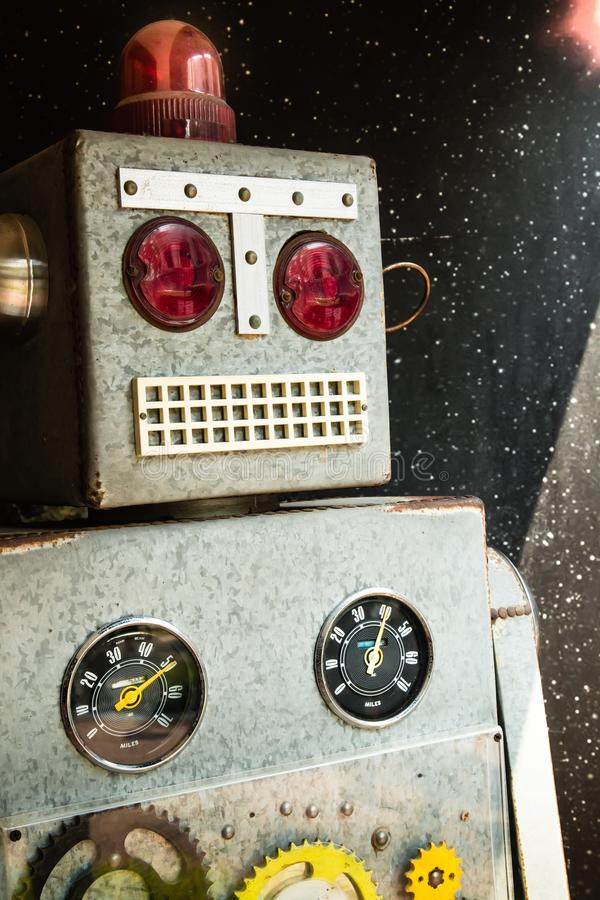 Big scale vintage robot closeup view. Big scale vintage robot display royalty free stock images
