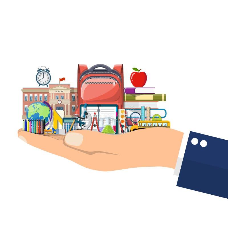 Big school set in hand. vector illustration