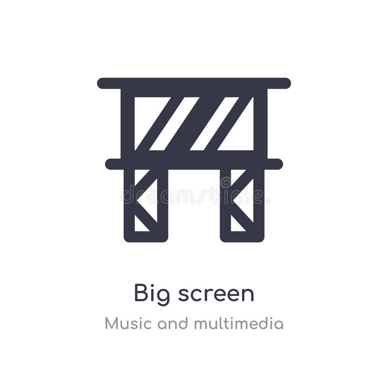 Big screen outline icon. isolated line vector illustration from music and multimedia collection. editable thin stroke big screen. Icon on white background vector illustration