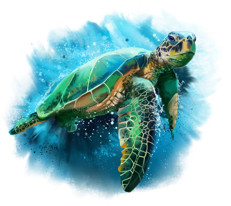 Big sea turtle. Watercolor painting