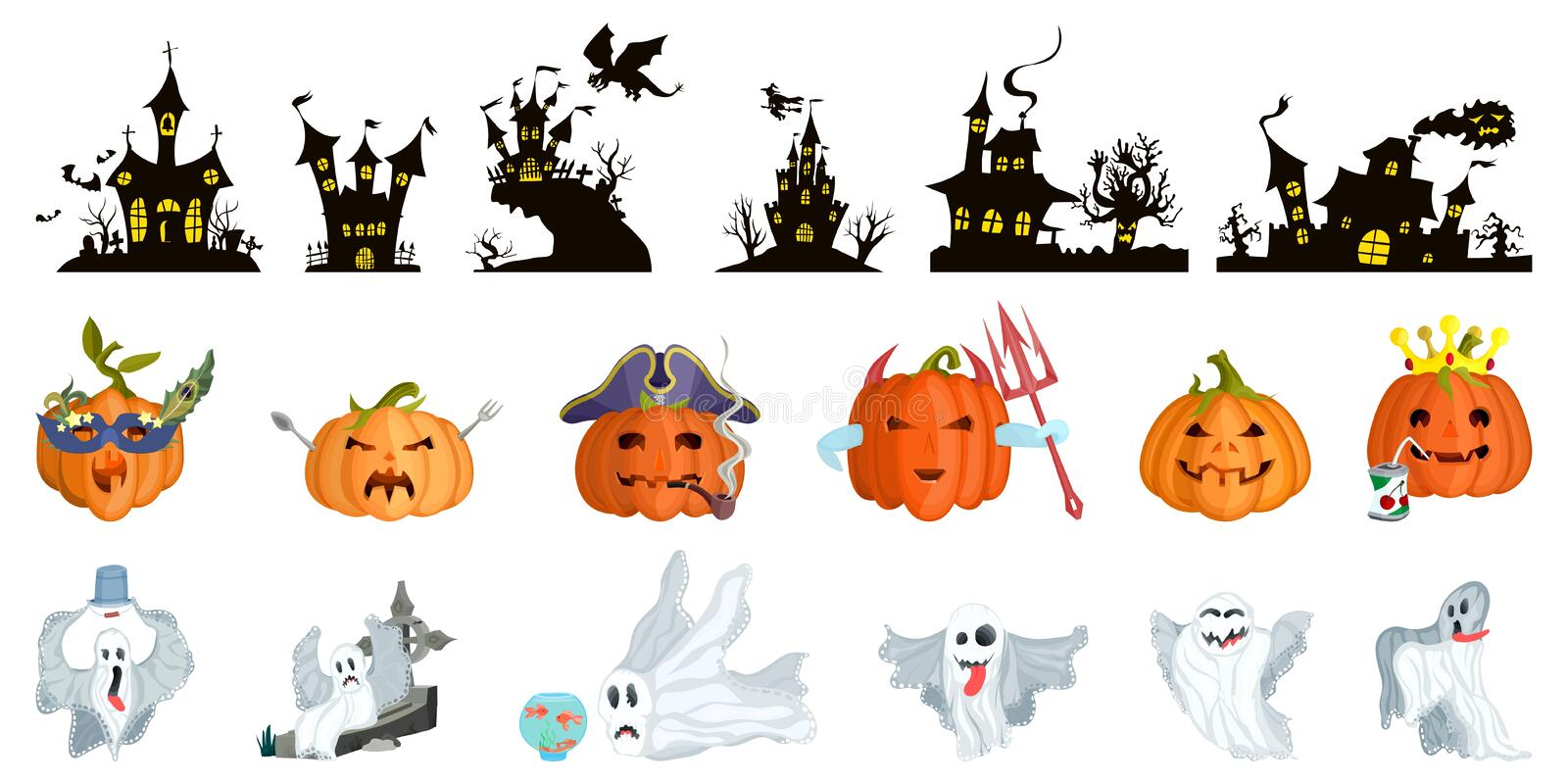Big selection for halloween. castles and monsters. Ghosts and evil pumpkins royalty free illustration