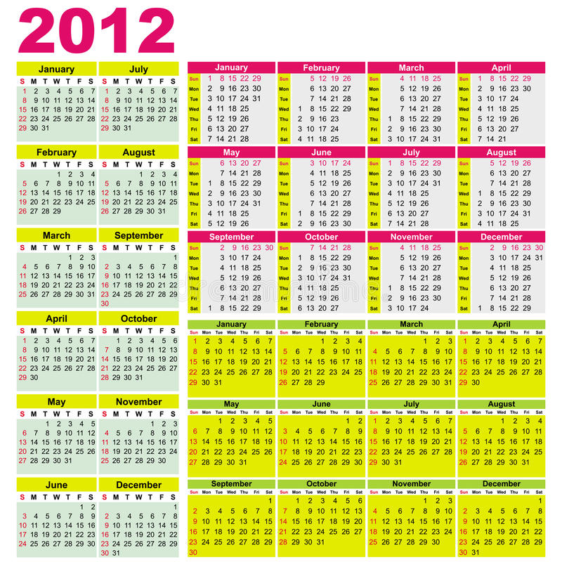 Download Big set of 2012 calendars. stock vector. Illustration of monday - 21619698