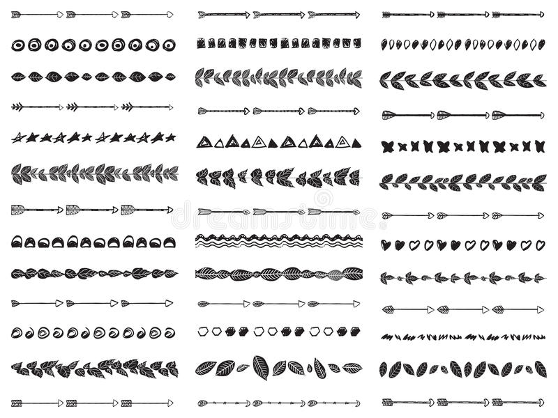 Big set of 39 abstract seamless brushes Aztec boho style. stock images