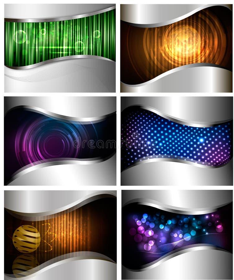 Big set of abstract technology backgrounds. Big set of abstract technology and business backgrounds. Vector illustration royalty free illustration