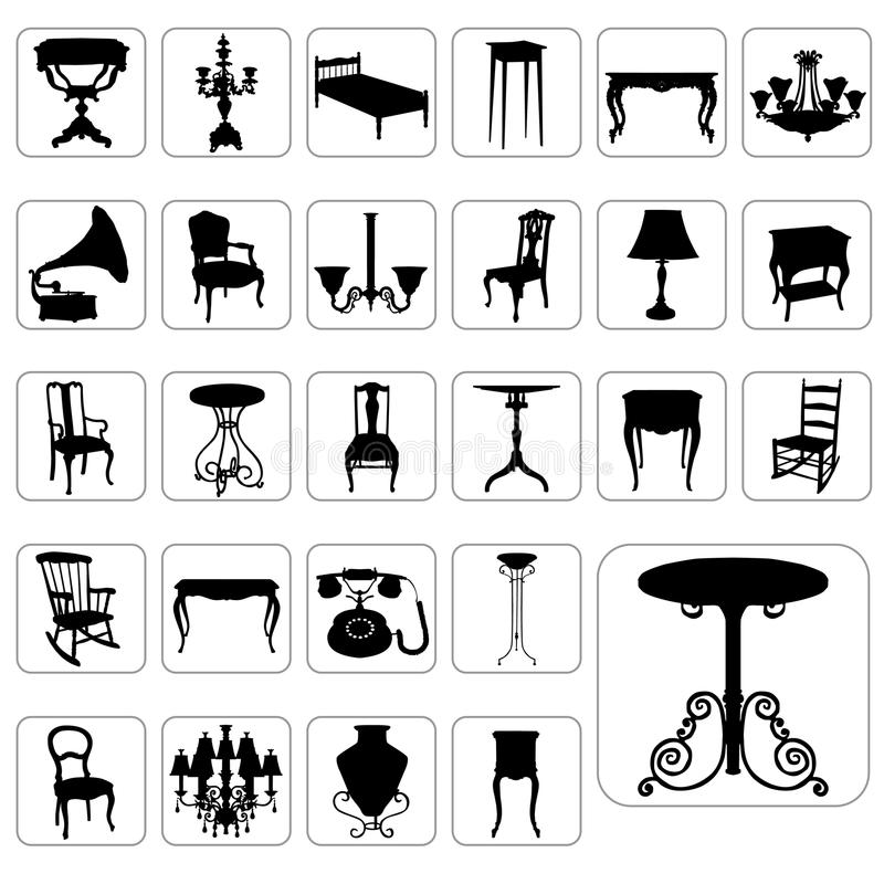 Big set of antique furniture vector. Antique furniture and object silhouettes vector vector illustration
