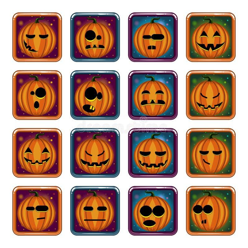 big set apps icon with halloween pumpkin game illustration