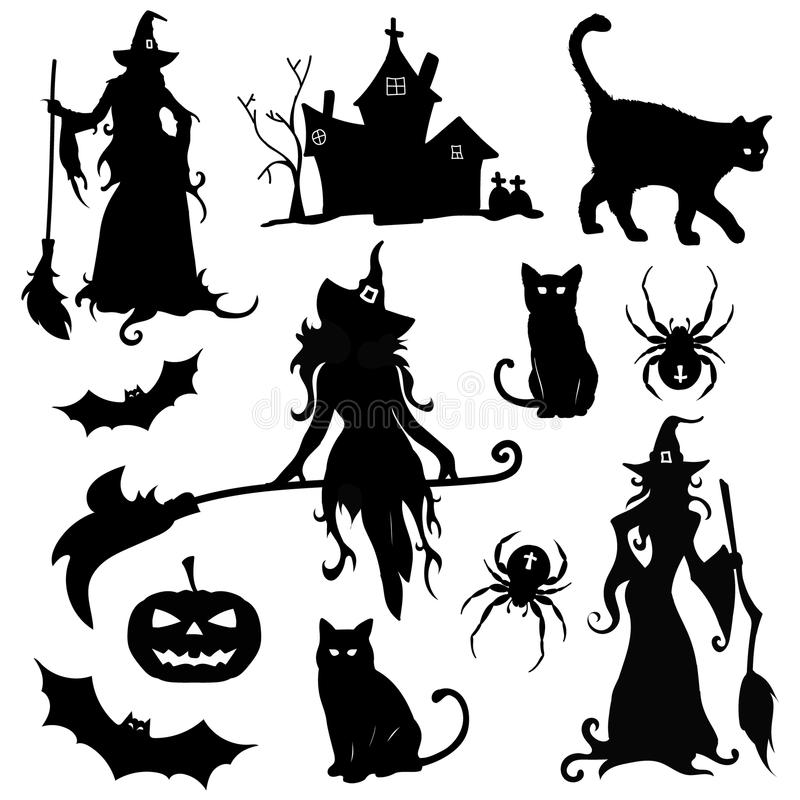 Big set of attributes for Halloween isolated vector illustration