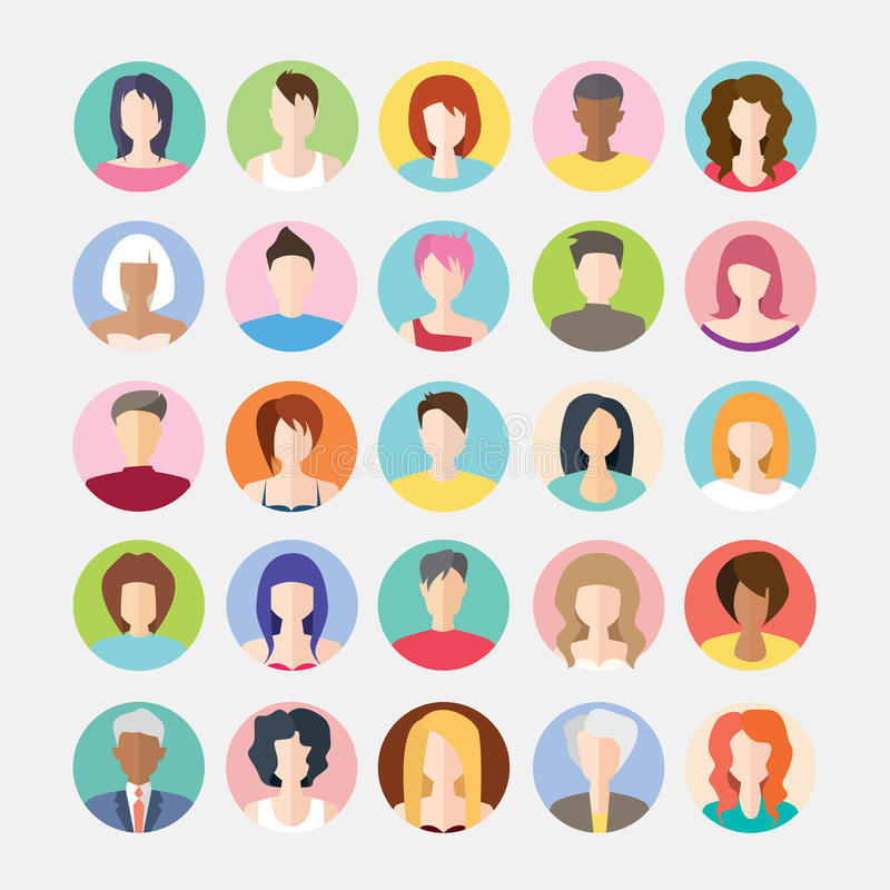 Big set of avatars profile pictures flat icons royalty free stock photo