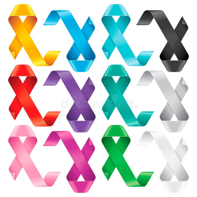 Big Set of Awareness Ribbons. Multicolored symbols of support or solidarity for many advocacy groups. The meaning behind an awareness ribbon depends on its royalty free illustration