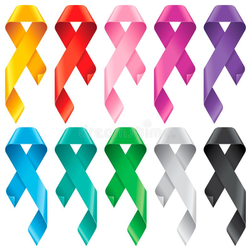 Big Set of Awareness Ribbons. Multicolored symbols of support or solidarity for many advocacy groups. The meaning behind an awareness ribbon depends on its stock illustration