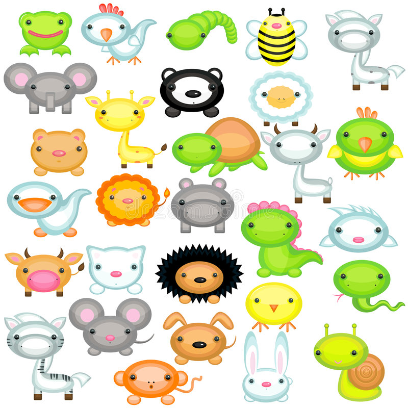 Download Big set of baby animals stock vector. Image of goat, dinosaur - 8679708