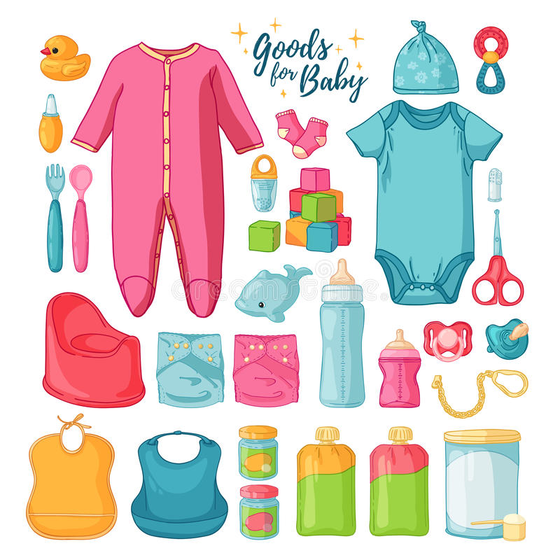 Big set baby stuff. Cute set of things for childrenhood. Isolated icons of baby goods for newborns. Clothing, toys vector illustration