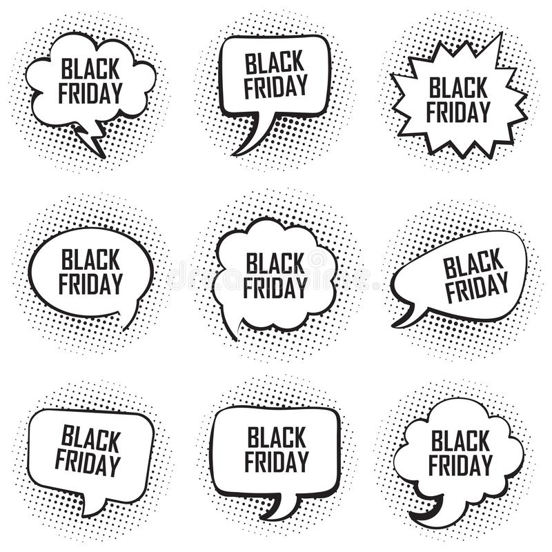 Big set of black friday template comic text speech chat bubble halftone dot background style pop art stock illustration