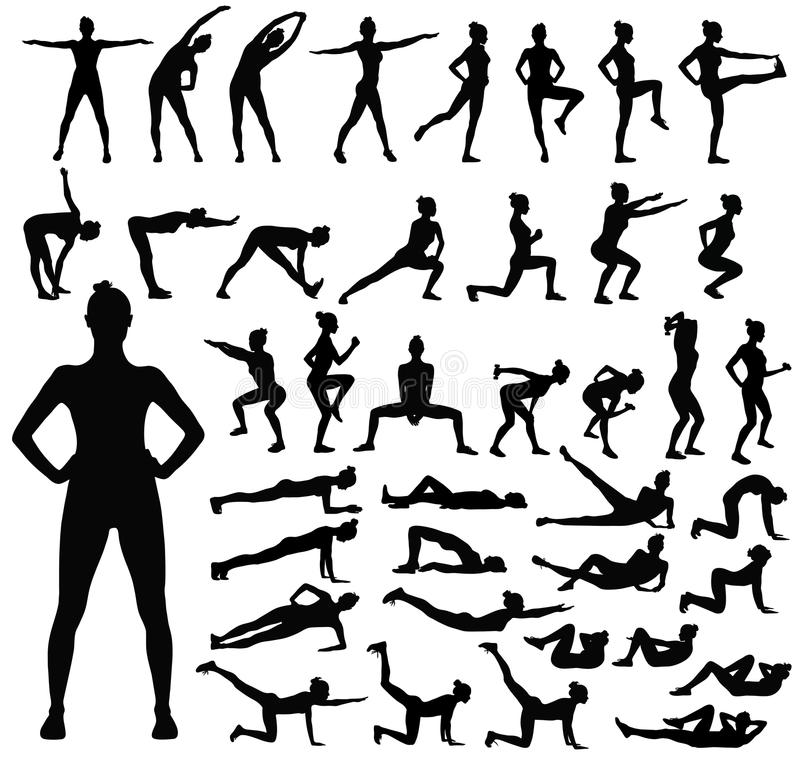 Big set of black silhouettes of woman doing fitness workout. stock photo
