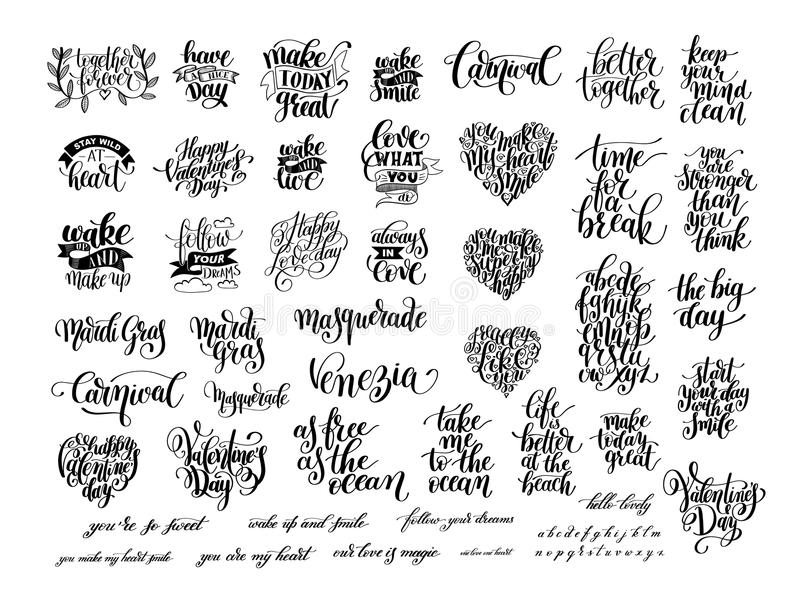 Big set of black and white handwritten lettering positive vector illustration