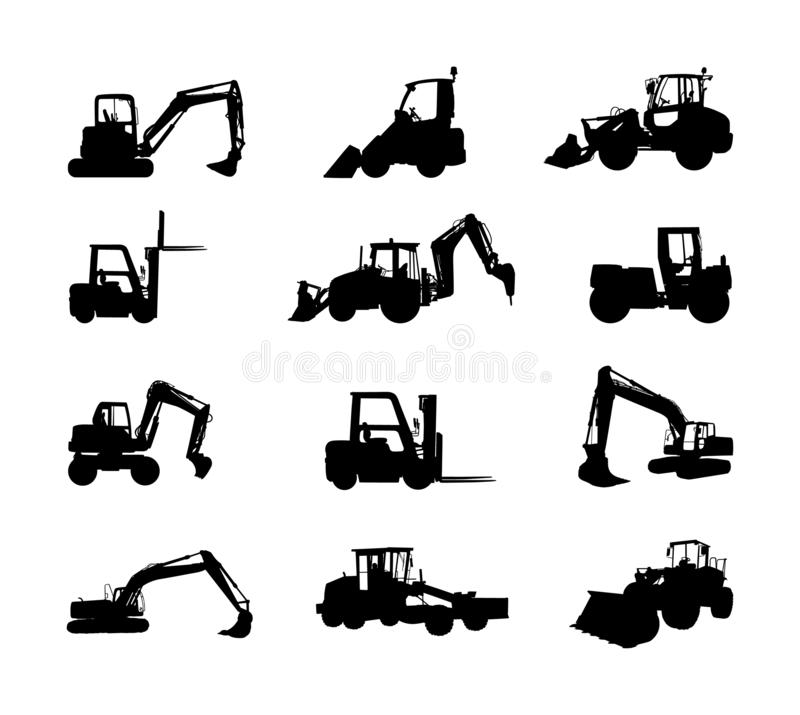 Big set of bulldozer loader vector silhouette isolated on white. Dusty digger, excavator dozer. Under construction. Building. Big set of bulldozer loader vector royalty free illustration