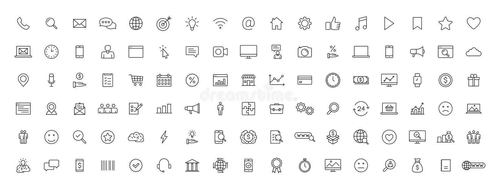 Big set of 100 Business and Finance web icons in line style. Money, bank, contact, office, payment, strategy, accounting,. Infographic. Icon collection. Vector stock illustration