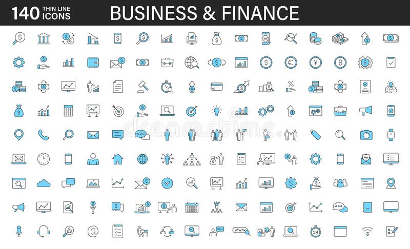 Big set of 140 Business and Finance web icons in line style. Money, bank, contact, office, payment, strategy, accounting, royalty free illustration