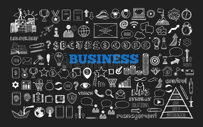Big set of Business Icons. 1. Big set of Business Icons. Vector hand drawn isolated objects. Sketch style stock illustration