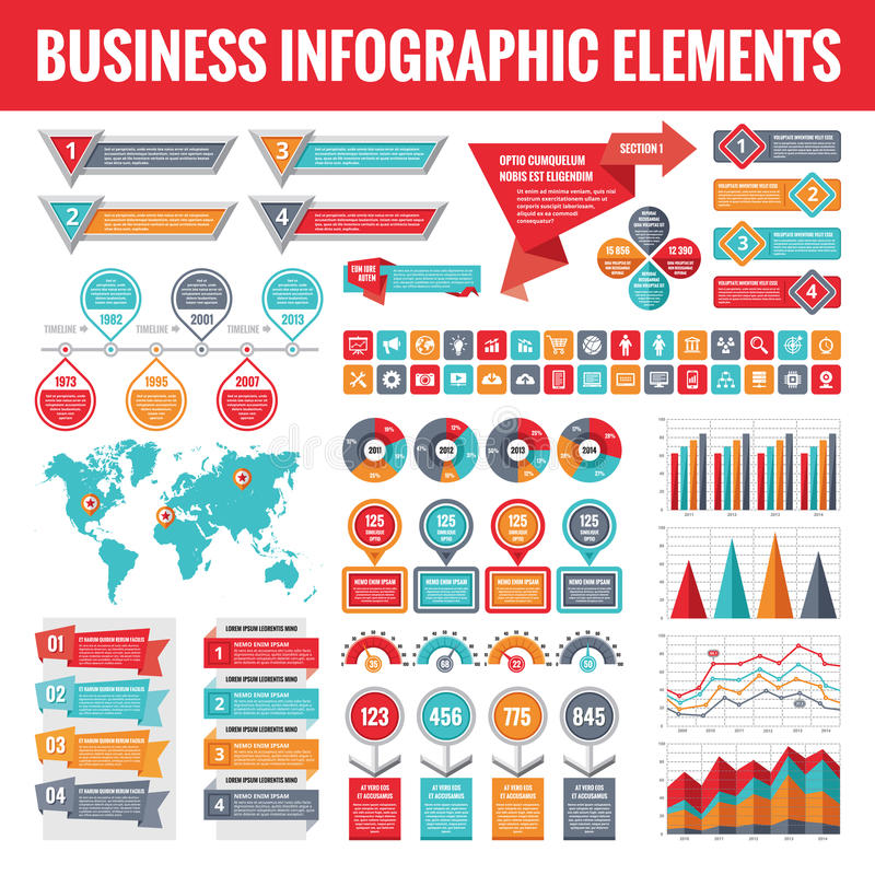 Big set of business infographic elements for presentation, brochure, web site and other projects. Abstract infographics templates. In flat style design. Vector