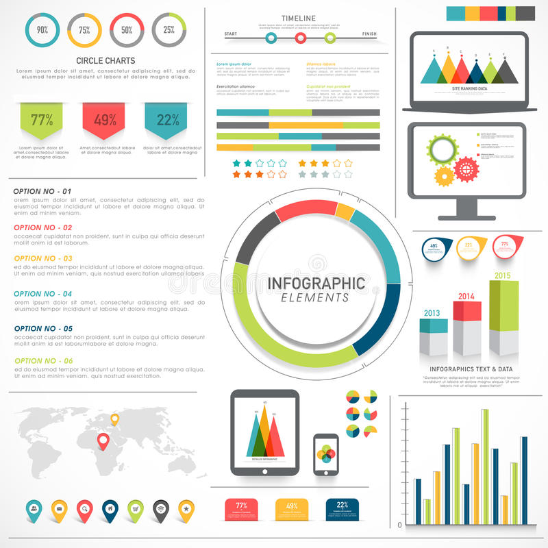 Big set of Business Infographic elements. A big set of statistical Infographic elements for your business presentation and reports royalty free illustration