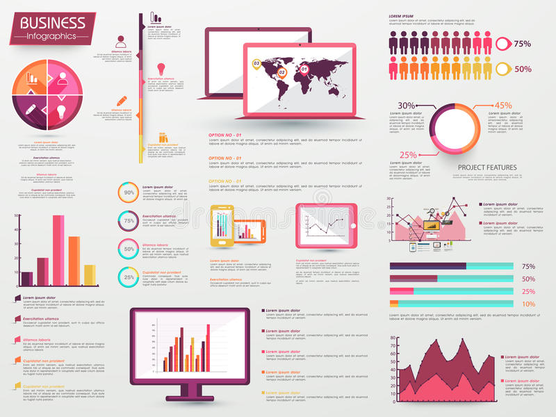 Big set of Business Infographic elements. A big set of various Infographic elements including statistical charts, graphs, bars with digital devices display for vector illustration