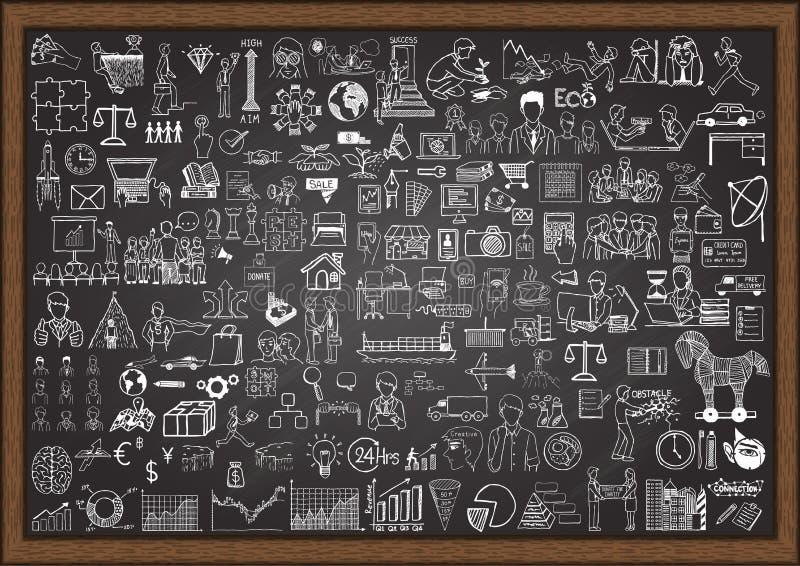 Big set of business situation doodles on chalkboard. stock illustration