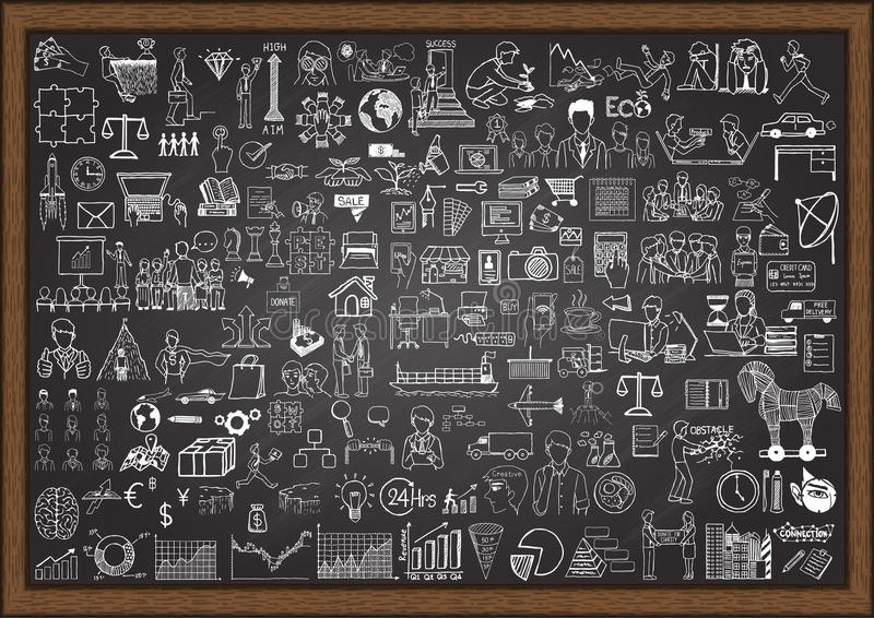Big set of business situation doodles on chalkboard. Big set of business situation doodle on chalkboard stock illustration
