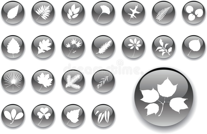 Download Big Set Buttons - 1_A. Leaves Stock Vector - Image: 6160624
