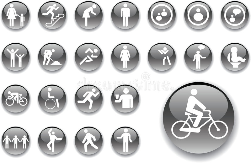 Big set buttons - 3_A. People vector illustration