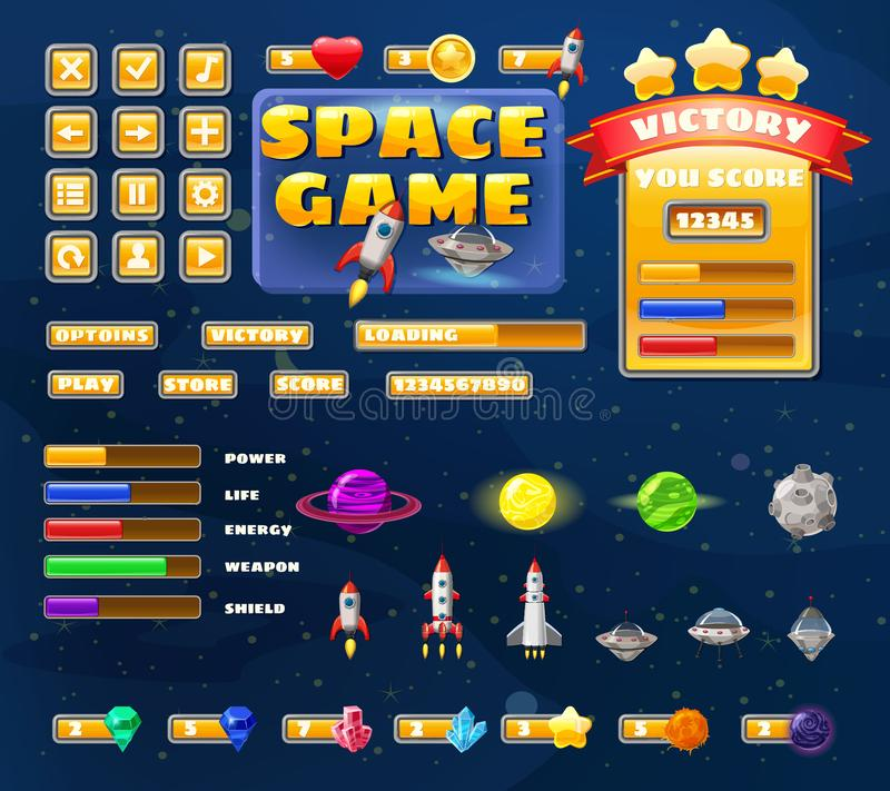 Big set buttons icons elements for Space game cartoon casual games and app. 2D video game UI kit icon for mobile games stock illustration