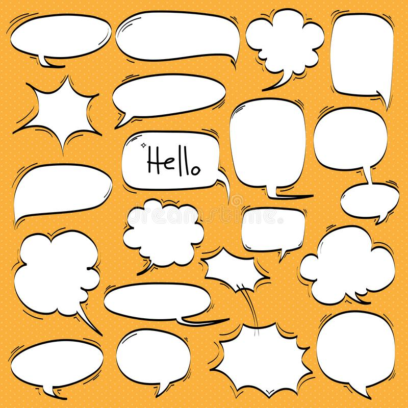 Big Set of Cartoon, Comic Speech Bubbles, Empty Dialog Clouds in Pop Art Style. stock illustration