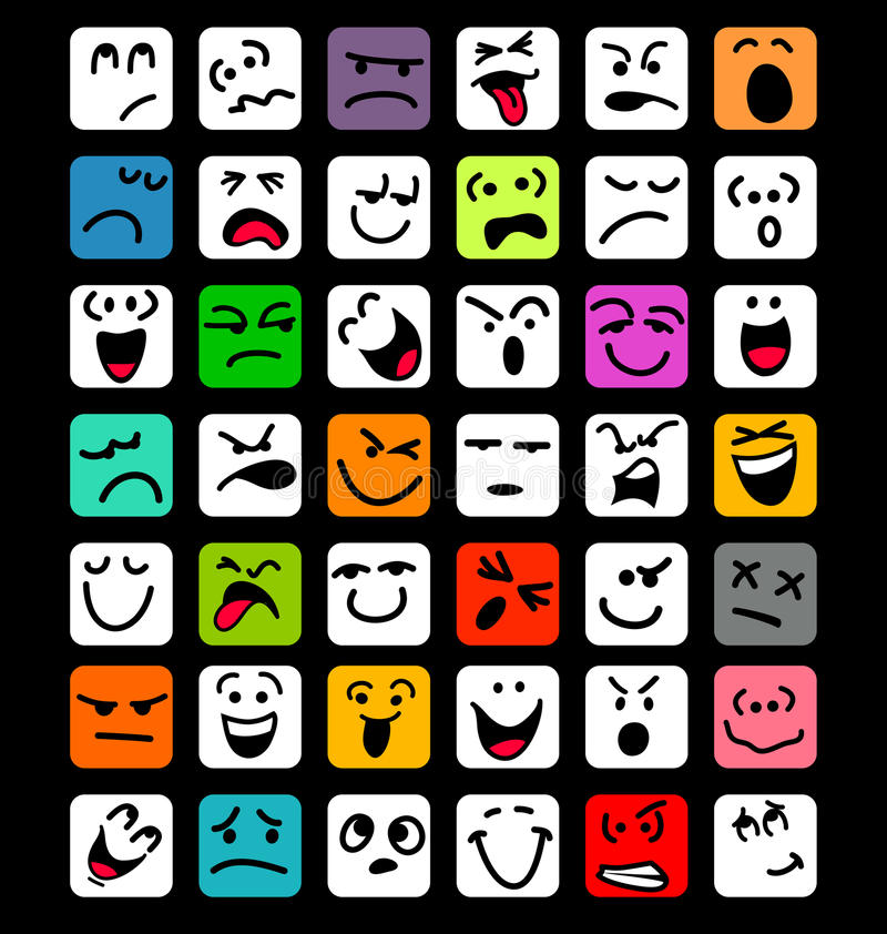 Download Big Set Of Cartoon Facial Expressions Stock Vector - Image: 41823769