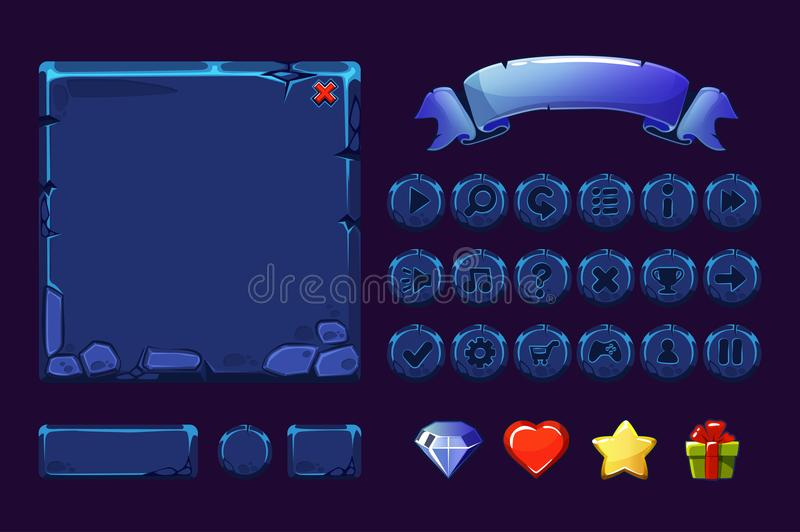 Big set Cartoon neon blue stone assets and buttons For Ui Game, GUI icons. Big set Cartoon neon blue stone assets and buttons For Ui Game, vector GUI icons royalty free illustration