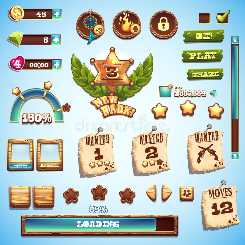 Big set of cartoon style elements for interface design in the game Wild West.  vector illustration