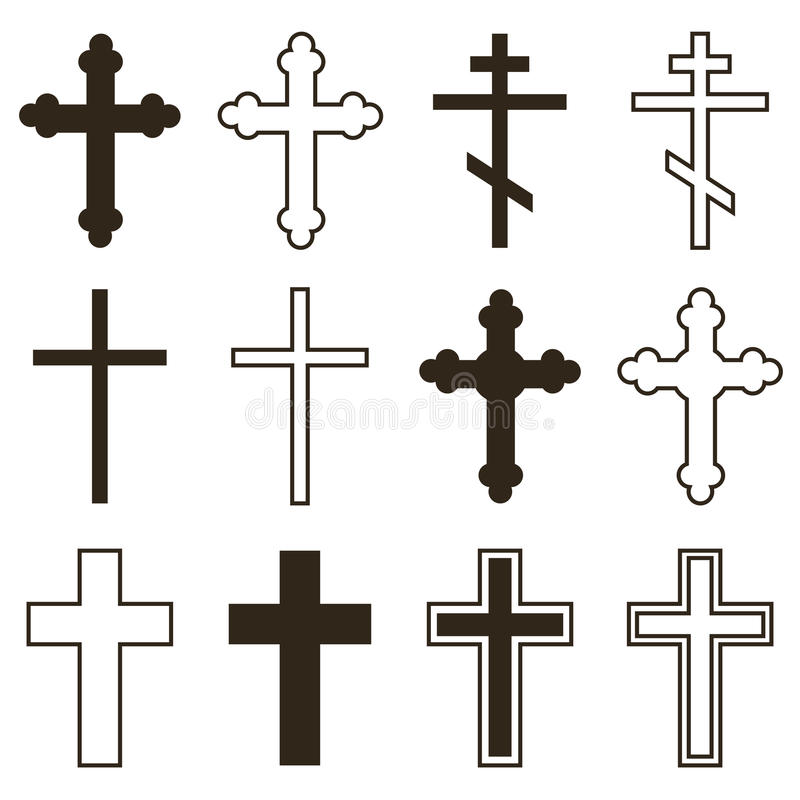 Big set of christian orthodoxy crosses in different styles and shapes isolated on white background stock illustration