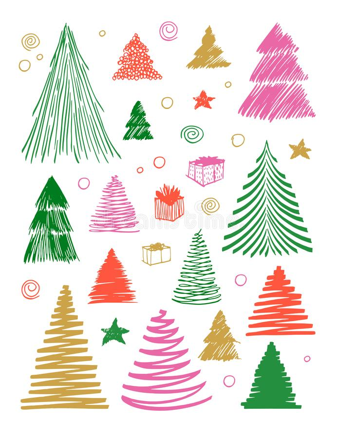 Big set of Christmas Tree doodle. Hand drawn vector conceptual colored graphic sketch illustration. Stock elements for royalty free illustration