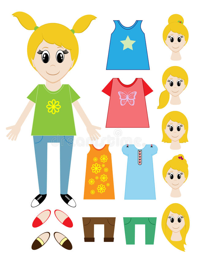 Big set of clothes for the girl Constructor. Hairstyle, dress, shoes, pants, T-shirt. Vector stock illustration