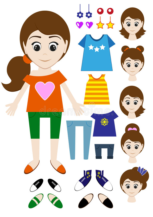 Big set of clothes for the girl Constructor. Hairstyle, dress, shoes, pants, T-shirt. Vector royalty free illustration