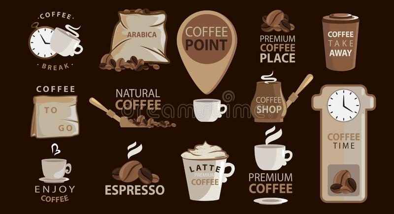 Big set of Coffee emblems or stickers with coffee illustrations. Logotypes. Arabica, espresso, latte. Big vector collection. royalty free illustration