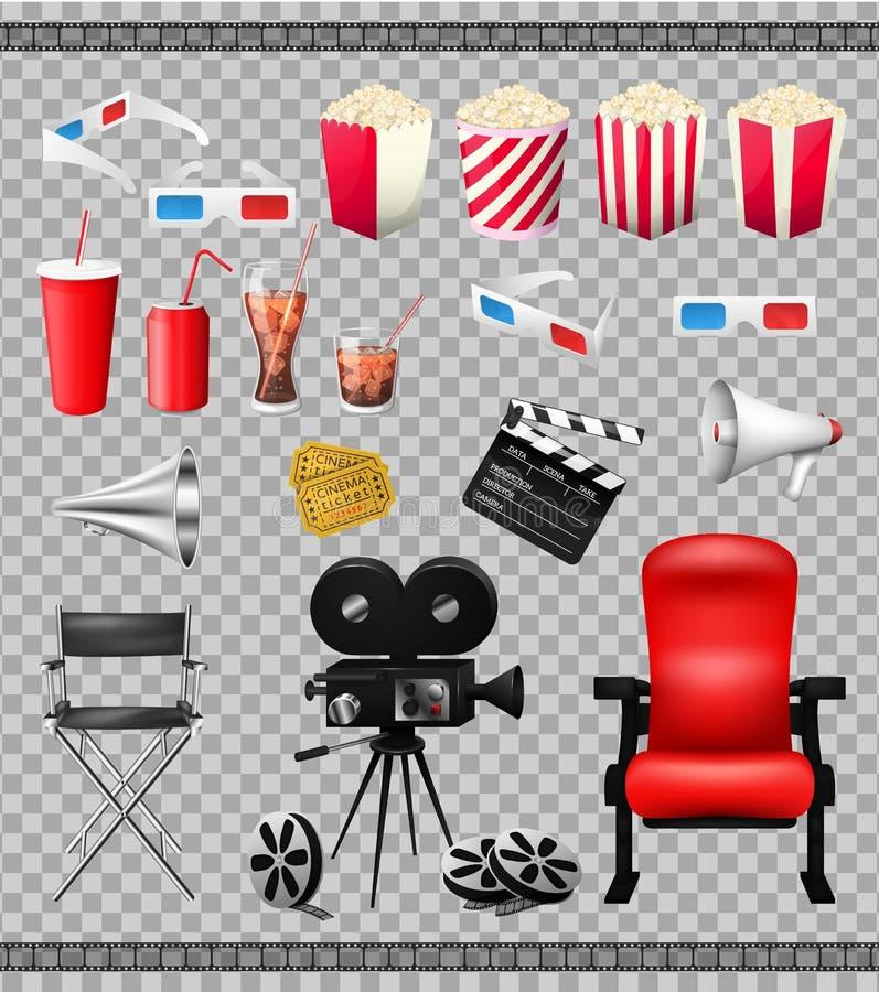 Big set of collection elements of cinema on transparent background vector illustration. Composition poster stock illustration