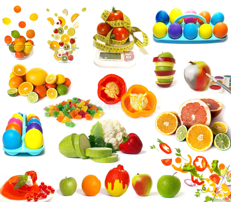 Big set of colorful food. On white royalty free stock photos