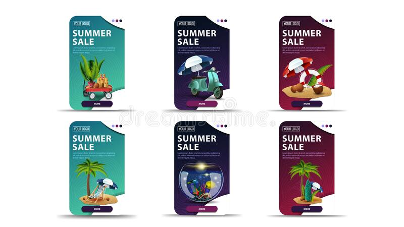 Big set of colorful vertical summer discount banners with summer icons. Green, blue and pink discount banners with summer elements and buttons for your website vector illustration